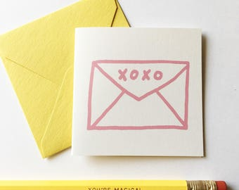 Tiny Card Set - XO Envelope. Set of 8 Cards + Tuck in Envelopes.  Gift Tag