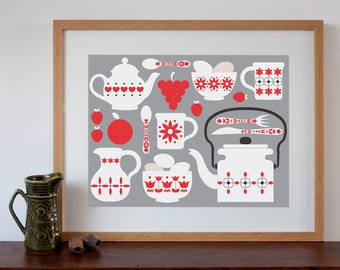 Retro Kitchen Design Art print Grey and Red