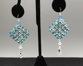 Teal Blue Beaded Earrings with Swarovski Crystal Dangles