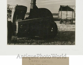Farming machinery tractor vintage art photo