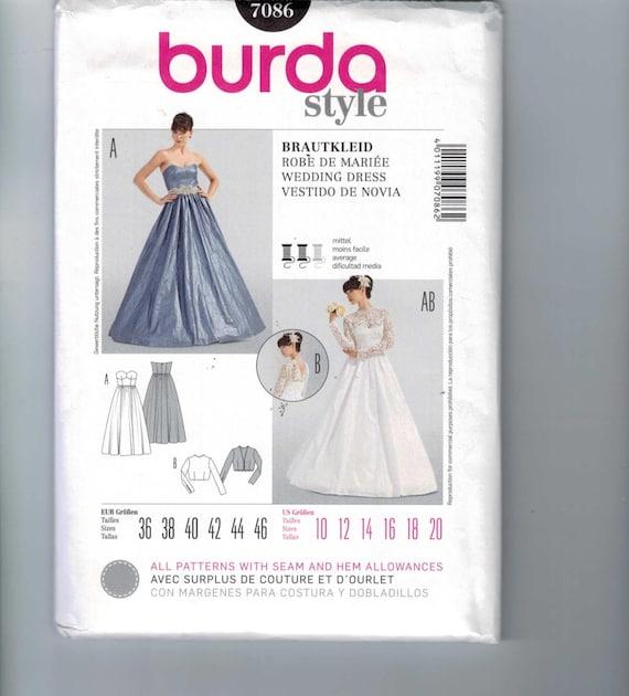Misses Sewing Pattern Burda 7086 Misses Wedding Dress Formal Gown ...