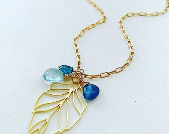 Aquamarine and Kyanite Briolette Leaf Accent Necklace