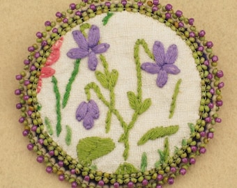 Shabby Chic Beaded Brooch/Pin with Vintage Embroidery