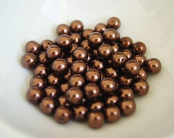 SET OF 10 6MM - CHOCOLATE BROWN ROUND GLASS BEADS