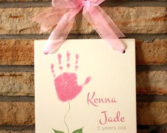 Flower Handprint Plaque 1000_plaque
