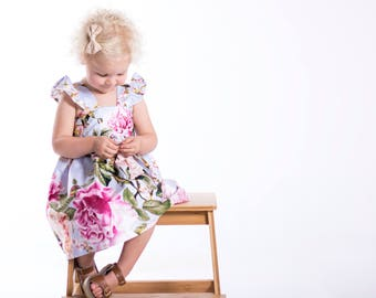 Anna's Teaparty Dress, Girls clothes, Baby clothes, Flutter sleeve dress, Dress, Vintage baby clothes, vintage kids