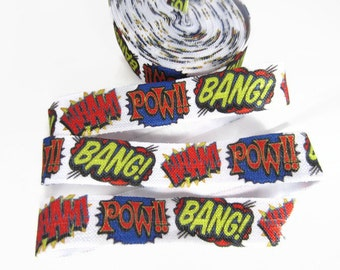 "Comic FOE, Fold Over Elastic, Wham, Bang, Pow, Super Hero Fabric, Lanyards, Hair Ties and Headbands, 5/8"" Wide Elastic"