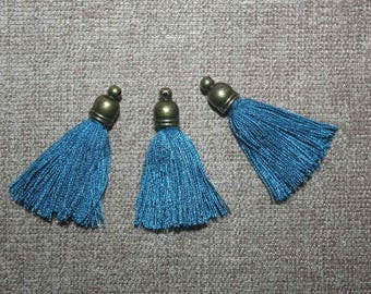 3 blue tassels with bronze 30mm cap