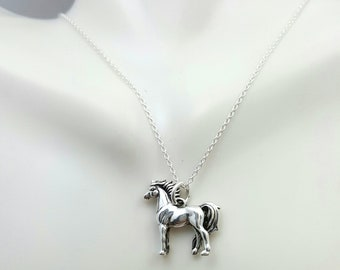 Horse necklace. Solid sterling silver horse charm necklace. Equestrian pendant.horse jewelry.Wild horse pendant. standing horse. horse rider