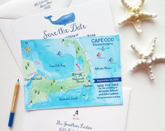 Save The Date Cape Cod, Save The Date Card Wedding Cape, Destination Wedding Save The Date, Nautical Save The Dates, Cape Cod Massachusetts