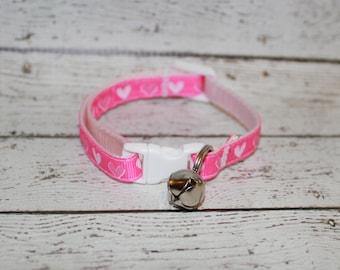 Pink Hearts Cat/Kitten Collar- Adjustable/Breakaway