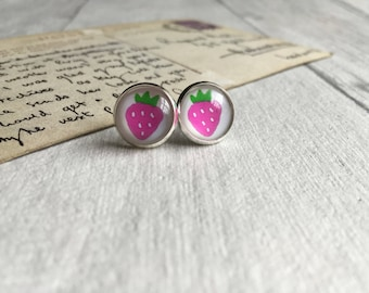 Pink strawberry earrings,inspirational  summer jewellery gifts for teen summer earrings fruit earrings strawberry studs post earrings