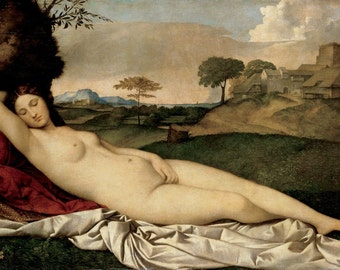 Giorgione : Sleeping Venus (1510) Canvas Gallery Wrapped Giclee Wall Art Print (D406)