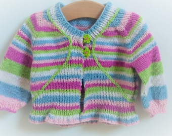 Knitting Pattern Cardigan Jacket Sweater Top Down Seamless for Baby and Child - Candy Cardigan (6 sizes Baby - 7 yrs)