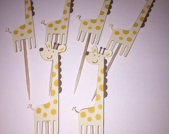 12 Giraffe Cupcake Toppers, Baby Shower or Birthday Party Decorations
