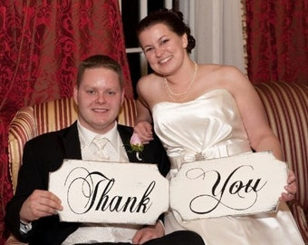 THANK YOU signs, WEDDING sign set of two shabby handmade rustic wooden signs, wedding planner, wedding photo signs