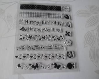 x 1 Board of clear transparent stamps themed stamps birthday silicone