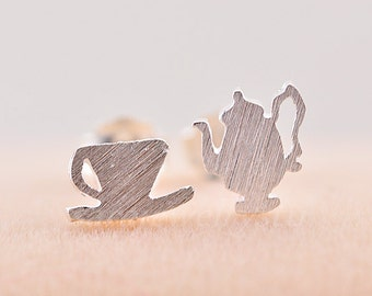 Silver Coffeepot and Coffee cup Earrings,Pairs Stud Earrings,925 Silver Women Jewelry,Lovely Earrings,bride's Wedding Gifts