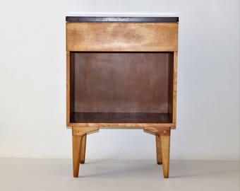 Vintage solid maple nightstand
