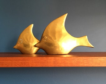Vintage Brass Fishing/Moon Fishing Hollywood Regency style, art Sixties