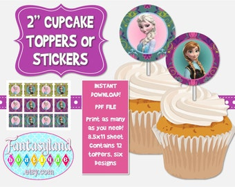 Frozen Inspired Damask Cupcake Toppers, Party Printables, Teal Pink Lavendar Blue, 2 inch cupcake toppers, 2 inch stickers