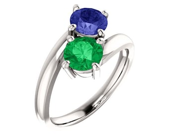 White Gold Emerald & Sapphire Ring / Emerald Ring Gold / Sapphire Ring Gold