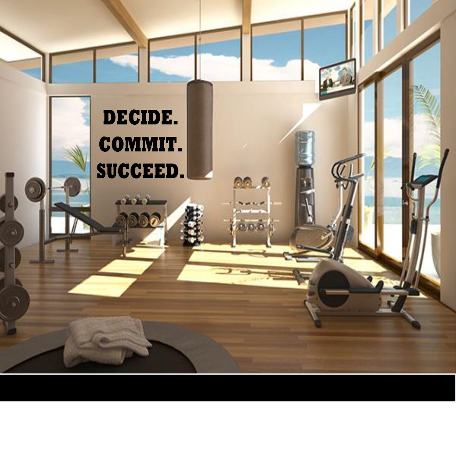 Decide commit succeed wall decal workout gym