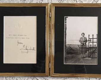 Queen Elizabeth Queen Mother Signed Christmas Card Framed