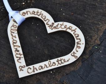 Custom christmas ornament Personalized ornament, wedding ornament, heart charm, personalized wood ornament, personalized wedding gift