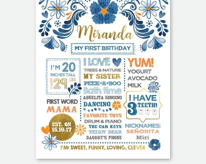 Fiesta Birthday Sign, Milestones Poster, First Birthday Board, Stats Birthday Poster, Any Age, Personalized Digital Printable Board