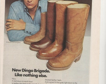 1975 Advertisement Ed Marinaro Dingo Boots NFL Football Minnesota Vikings NY Jets Joe Coffey Hill Street Blues Fashion 70s Wall Art Decor