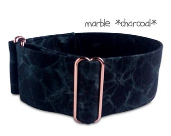 "black dog collar *marble*, rose gold, charcoal, martingale, marble dog collar, red gold hardware, custom, martingale, buckle collar; 1""- 2"""