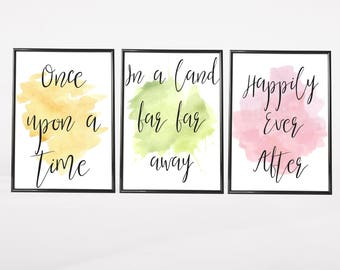 Set of 3 Gallery Wall Art Prints | Once Upon A Time | Watercolour Fairytale Little Girl's Room Decor Nursery | Pink Green Yellow Pictures