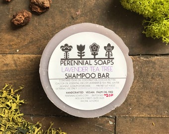 Lavender Tea Tree Shampoo Bar - Vegan Artisan Soap with Cocoa Butter & Castor Oil
