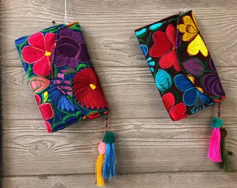 Oaxacan Embroidered Floral Clutch with Magnetic Clasp