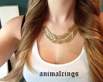 Gold Feather Necklace, Gold Statement Necklace, Gold Choker Necklace, Gold Vintage Necklace, Gold Metal Necklace, Gold Antique Necklace