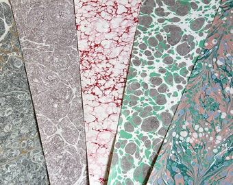 5 Hand Marbled Papers 50cm x 75cm