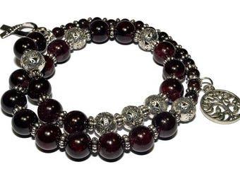 January Birthstone Mala Bracelet - Garnet Stretch Bracelet