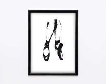 Black and white pointe shoes print, Instant download, Home decor, Printable wall decor, Modern art, Digital art, Vector PDF, Ballet print