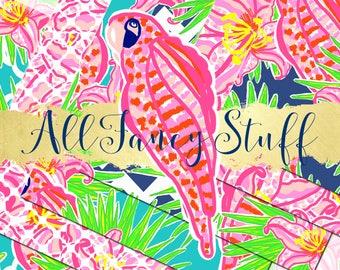 Commercial Use | Digital Paper | Clip Art | Preppy | Parrots | Flowers