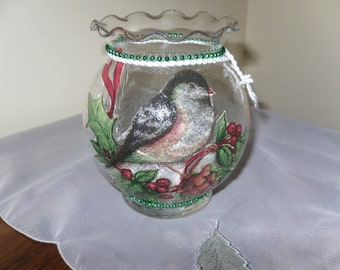 Christmas Candle Holder Snowbird Votive Glass