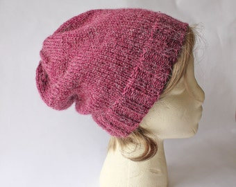 Raspberry Red Alpaca Blend Slouchy Knit Hat, Slouchy Knit Hat, Slouchy Knit Beanie, Hand Knit Hat, Hand Knit Beanie, Winter Hat, Hipster Hat
