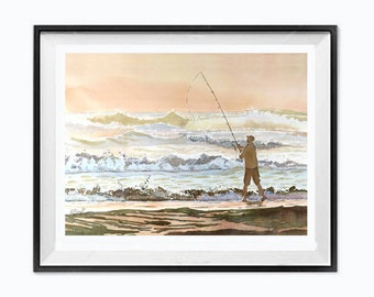 Ocean Giclee print Seascape Waves crashing breaking wave Ocean art Sunset giclee print beach fishing watercolor Christmas Time Sale