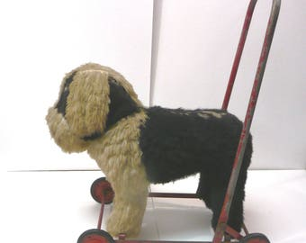 Sheepdog Antique Vintage Tomeworn Child's Push Pull Stuffed Toy bw cloth Wheels