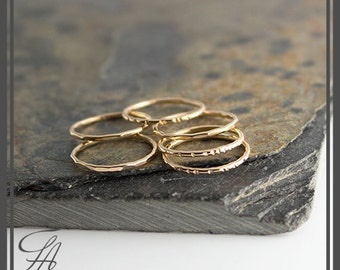 Gold Band Ring, Stackable Ring, Hammered Ring, Gold Ring, Band Ring, Staking Gold Ring, Dainty Stacking Ring, Stackable Ring, Gift For Her