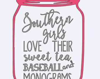 Mason Jar iron on, Southern, girls, baseball, sweet tea, southern girls, iron on, monogram, Summer Time, monogrammed decal, shirt,initial