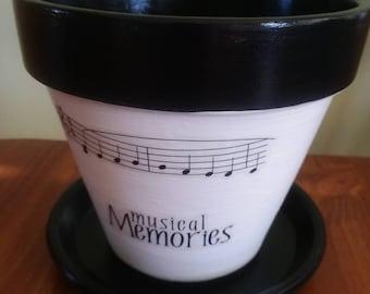 Terra cotta pot,  music, teacher gift,