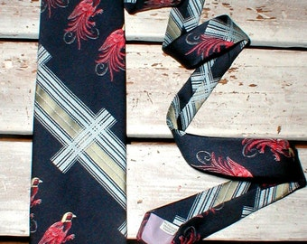 Mr John Polyester Wide Necktie 1970s Fashion Vintage Mod *Beautiful Birds*