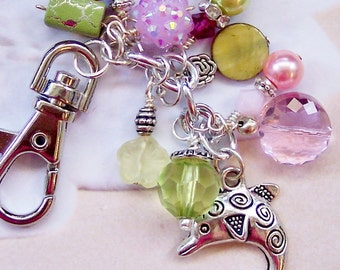 Dolphin Purse Charms, Dolphin Bag Charms, Purse Dangles, Planner Charms, Pink and Green Purse Charm, Dolphin Gift, Dolphin Accessories