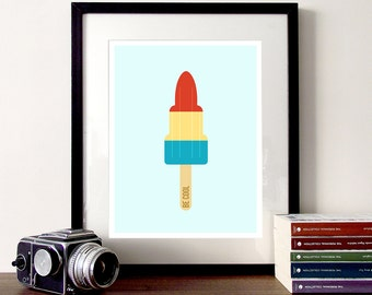 Ice cream illustration, rocket popsicle illustration, summer ice cream print, ice lolly poster, ice cream quote print, be cool quote, cute